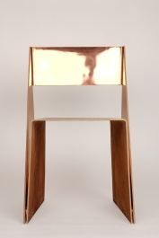 copper, formed plywood, prototype, stackable chair, tlf01, tobias labarque, veneer