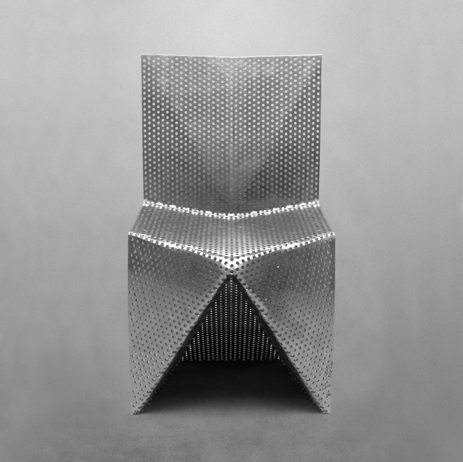 alu, aluminium, folded plate, origami, perforated, stackable chair, tlf03, tobias labarque