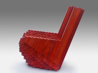 massive, padouk, pixelated, lounge chair, tlf08, tobias labarque, voxel, wood